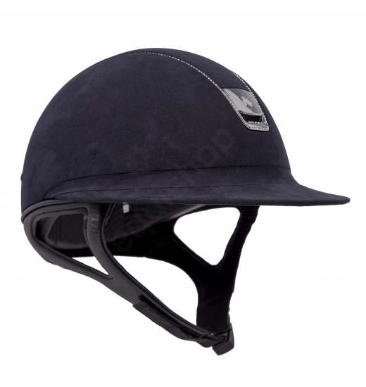MISS SHIELD PREMIUM / ALCANTARA TOP / 255 SWAROVSKI / SILVER CHROME / NAVY HELMET