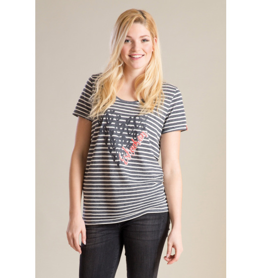 LULU LADIES RELAXED T-SHIRT DENIM STRIPED