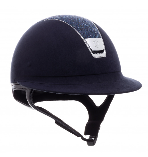 MISS SHIELD PREMIUM / CRYSTAL FABRIC TOP / ALCANTARA BAND / 255 SWAROVSKI / SILVER CHROME / NAVY HELMET