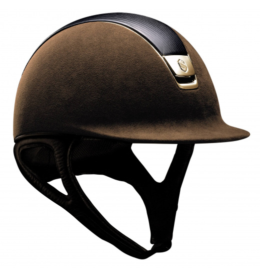 LEATHER TOP/ GOLDEN CHROME/ BROWN PREMIUM HELMET