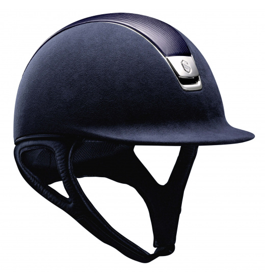 LEATHER TOP/ SILVER CHROME/ NAVY PREMIUM HELMET