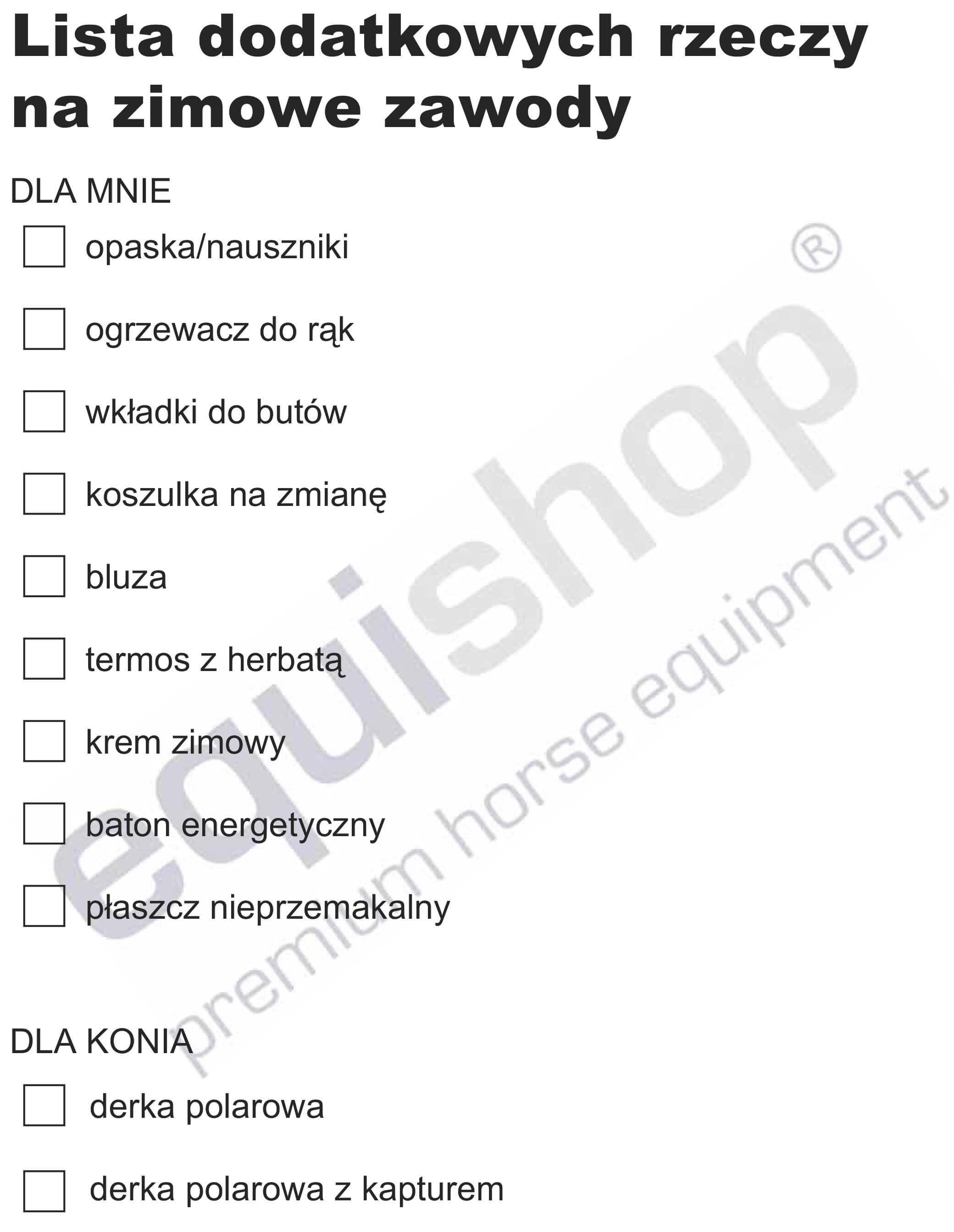 Lista rzeczy do zabrania na zimowe zawody