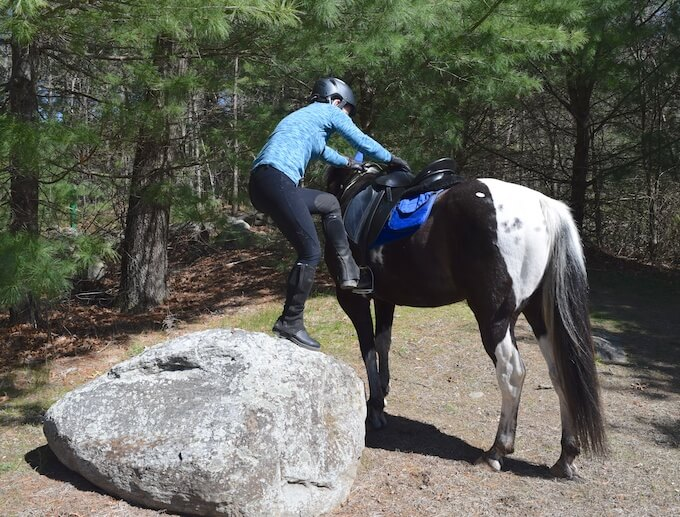 mounting from a stone