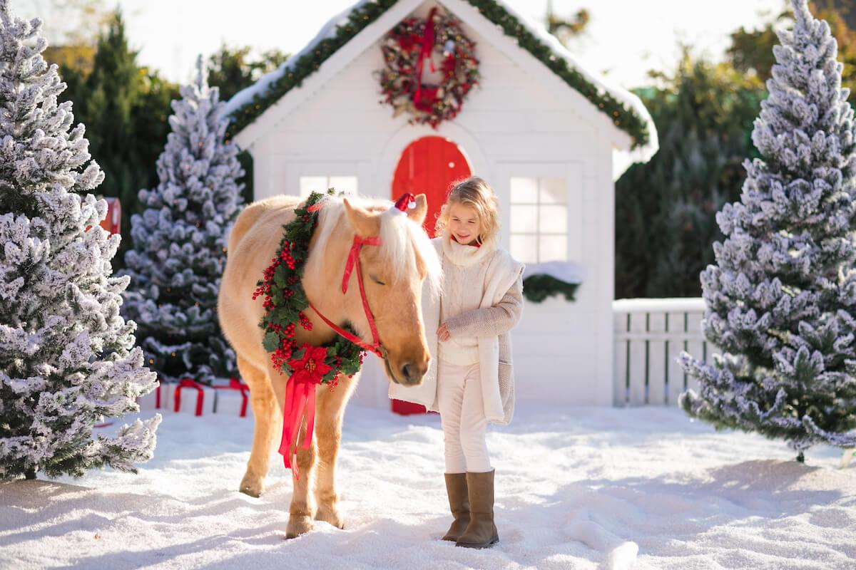 Dziewczynka z koniem na tle świątecznej scenerii