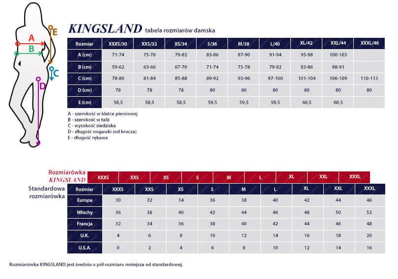 Tabela rozmiarowa KINGSLAND damska