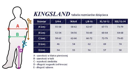 Tabela rozmiarowa KINGSLAND dziecięca