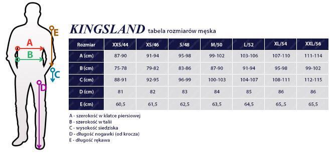 Tabela rozmiarowa KINGSLAND męska