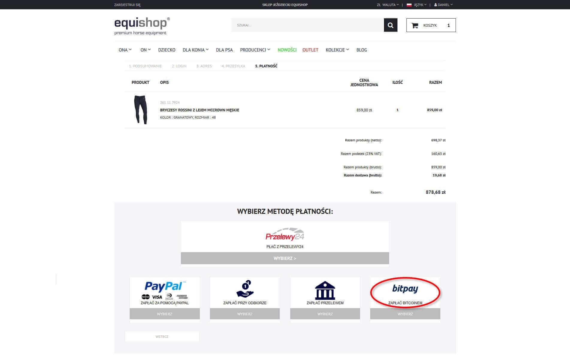 Jak wybrać płatność Bitcoin w Equishop?