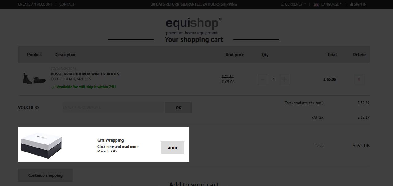 Gift wrapping option in the shopping cart