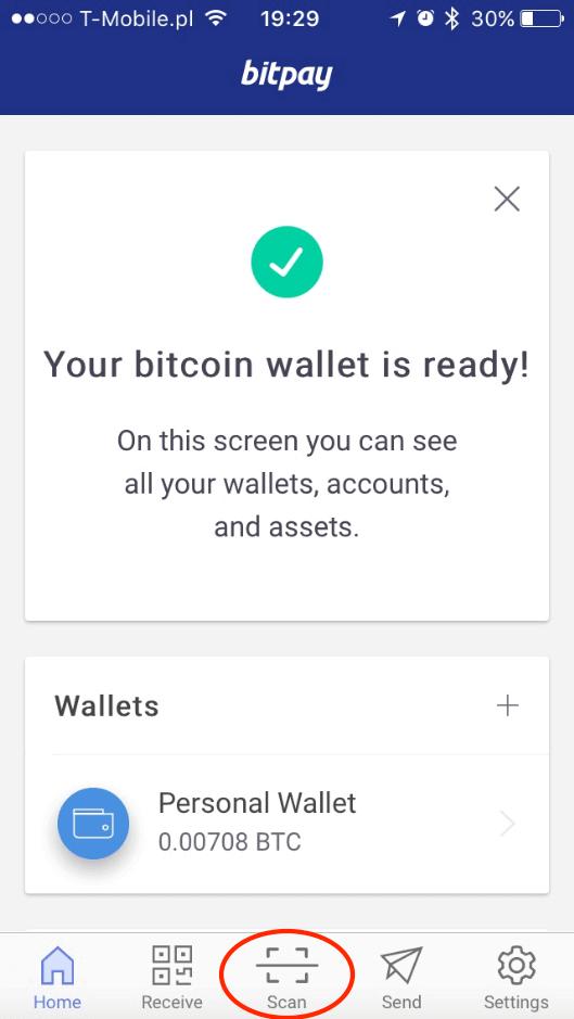 Portfel gotowy do wysłania BTC