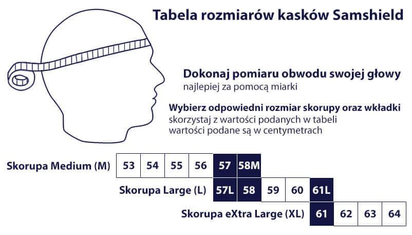 Tabela rozmiarowa kasków Samshield