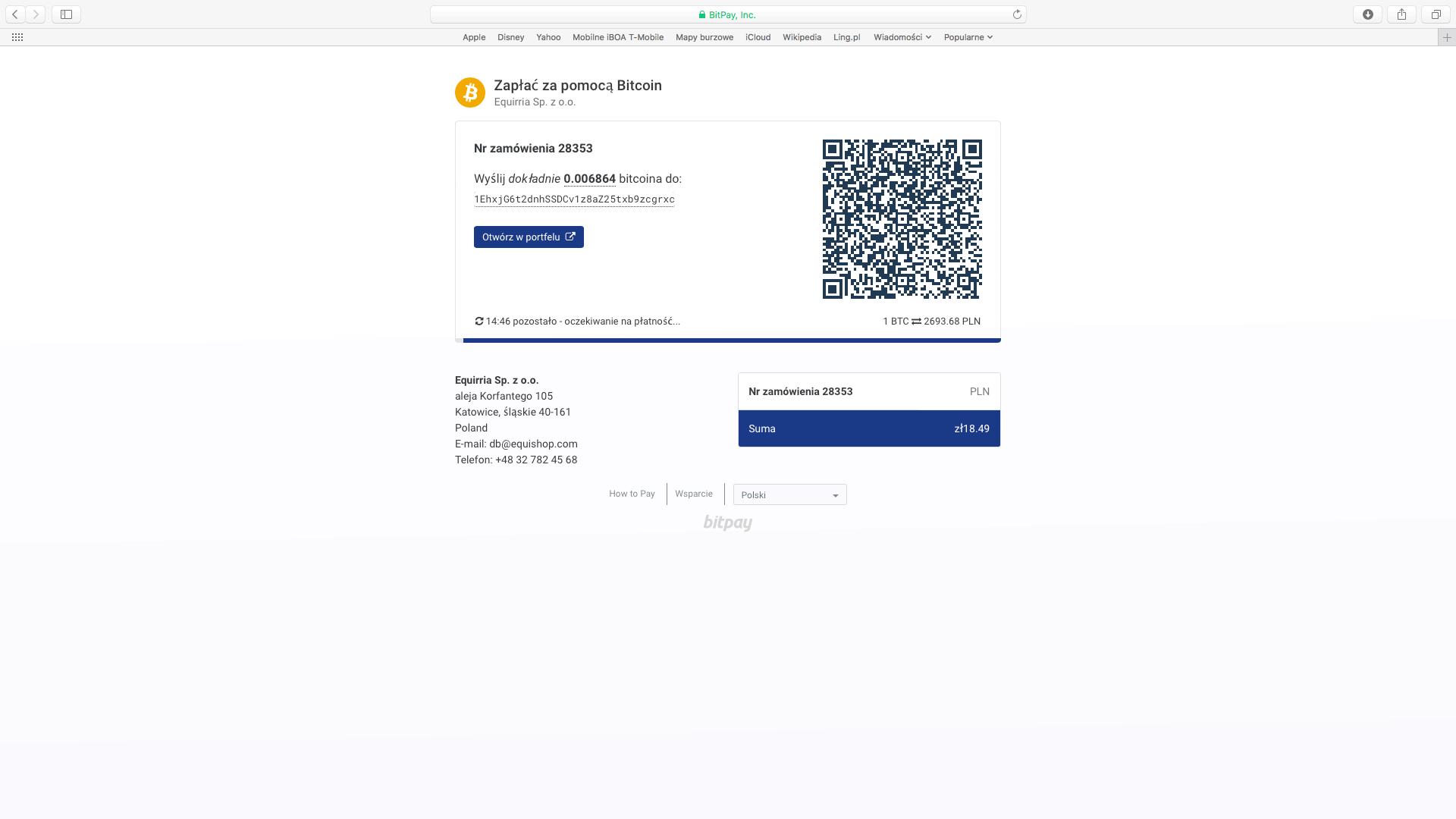 Przejście na stronę płatności BitPay